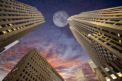 Photograph - Moon Over Manhattan by Al Hurley