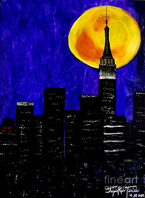 Mixed Media - Moon Over Manhattan by Jayne Kerr