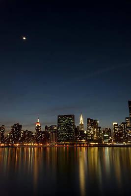 Moon Over Manhattan Art Print by Photographs by Vitaliy Piltser