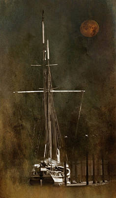 Moon Over Masts Art Print