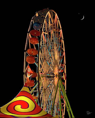 Photograph - Moon Over The Ferris Wheel by Endre Balogh