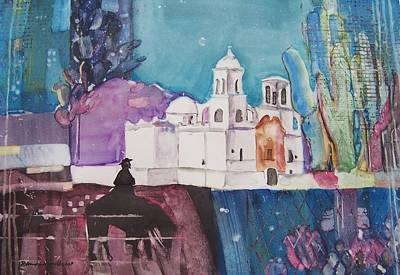 Moon Over The Mission Art Print by Regina Ammerman
