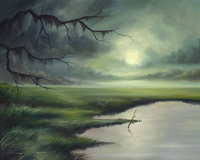 Clearing Painting - Moon Over Wadmalaw Island  by James Christopher Hill