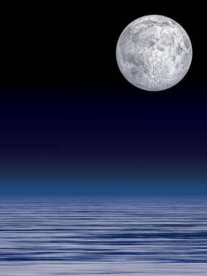 Moon Over Water Print by Laguna Design