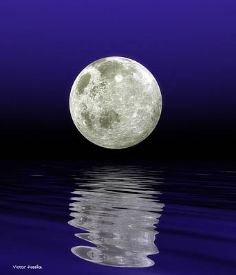 Moon Over Water Print by Victor Habbick Visions