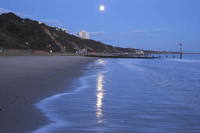 Moon Reflecting In The Sea, Bournemouth Beach, Dorset, England, Uk Art Print by Peter Lewis