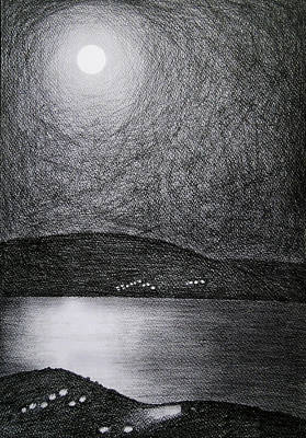 Drawing - Moon Reflection On The Sea by Ana Leko Nikolic