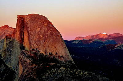 Moonrise At Sunset Photograph - Moon Rise Over Half Dome by Jeff Lowe