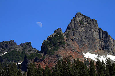 Photograph - Moon Rising Over The Tatoosh Range Rainier National Park by Pierre Leclerc Photography