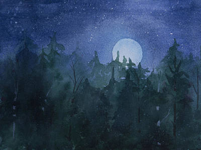 Painting - Moon Setting Over Forest by Debbie Homewood