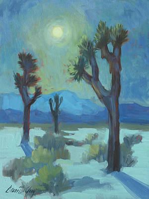 Blue And Green Painting - Moon Shadows At Joshua by Diane McClary