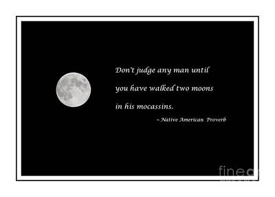 Moon With Proverb Print by Barbara Griffin