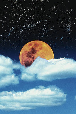Composite Photograph - Moon With Stars In Clouds by David Jeffrey