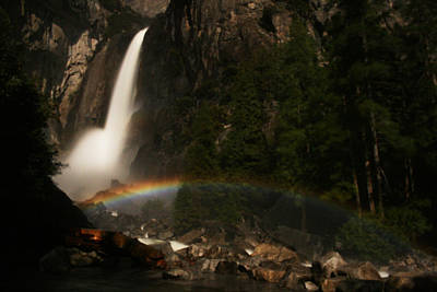 Photograph - Moonbow Yosemite Falls Yosemite National Park by Benjamin Dahl