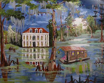 Moonlight And Houseboat Art Print by Mary Crochet