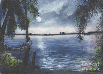 Moonlight At Madeira Beach Art Print by Joan Cornish Willies
