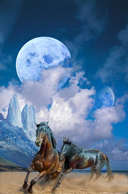 Moonlight Horses Art Print by Pavlos Vlachos