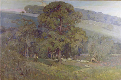 Shepherd Painting - Moonlight In The Cotswolds by Sir Alfred East