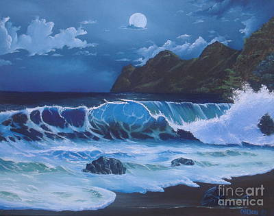 Michael Allen Painting - Moonlight On The Beach by Michael Allen