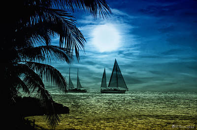 Moon Photograph - Moonlight Sail - Key West by Bill Cannon
