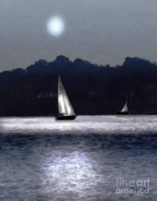 Digital Art - Moonlight Sail by Dale   Ford