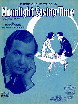 Old Sheet Music Photograph - Moonlight Saving Time by Mel Thompson