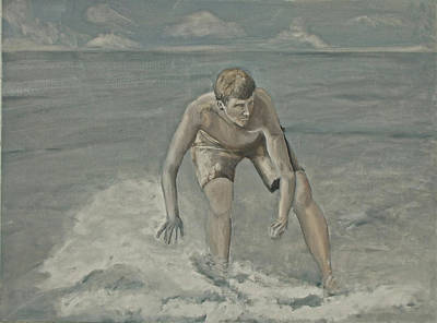 Painting - Moonlight Skimboarder by Peter Edward Green