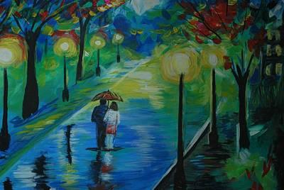 Painting - Moonlight Stroll Series 1 by Leslie Allen