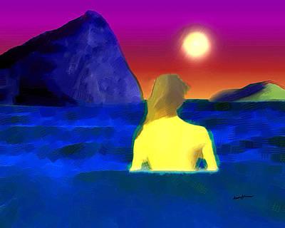 Illuminated Mixed Media - Moonlight Swim by Anthony Caruso