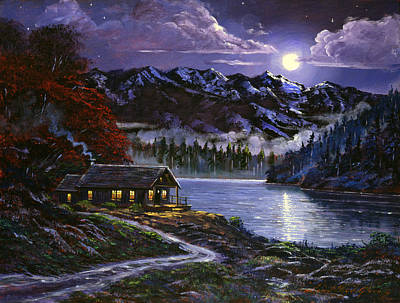 Moonlit Cabin Art Print by David Lloyd Glover