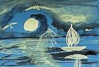 Painting - Moonlit Sail by Anna Lewis