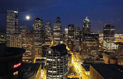 Photograph - Moonlit Seattle Skyline by Robert Meyers-Lussier