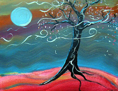 Silver Moonlight Painting - Moonlit Tree by Jennifer Wade