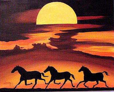 Painting - Moonlit Trot by JoeRay Kelley