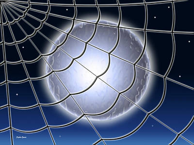 Solar Eclipse Digital Art - Moonlit Web by Stephen Younts