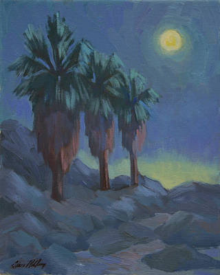 Painting - Moonrise And Three Palms by Diane McClary