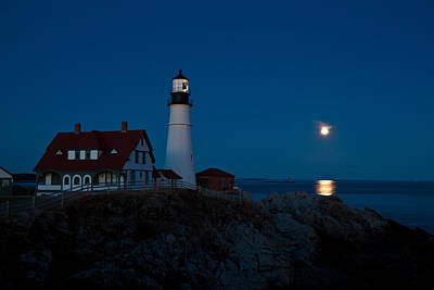 Photograph - Moonrise At Portland Head by Sara Hudock