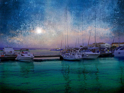 Moonrise At The Bay In Kukljica Croatia Art Print