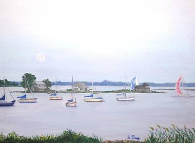 Heather Perez Painting - Moonrise In Summer by Heather Perez