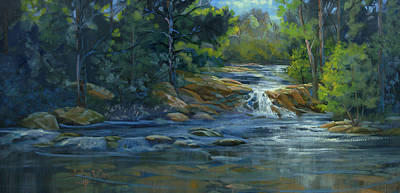 Comic Character Paintings - Moonrise on the River by Heather Coen