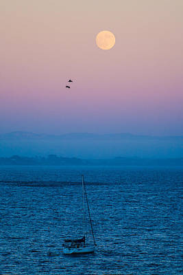 Moonrise Over Capitola Art Print by Tommy Farnsworth