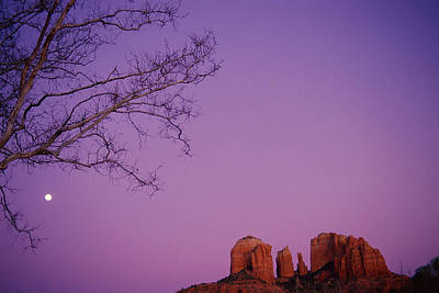 Moonrise Over Oak Creek Canyon Art Print by Stockbyte