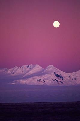 Moonrise Over Snowy Mountain Art Print by Stockbyte