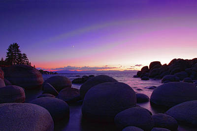 Sand Harbor Photograph - Moonrise Over Tahoe by Rick Berk