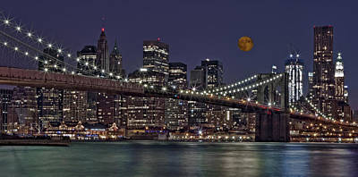 New York Photograph - Moonrise Over The Brooklyn Bridge by Susan Candelario