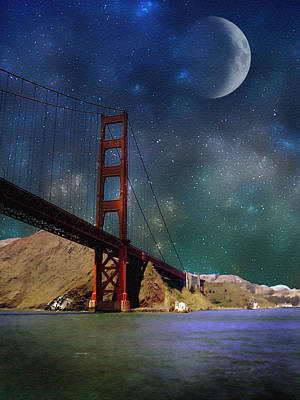 Photograph - Moonrise Over The Golden Gate by Ellen Heaverlo