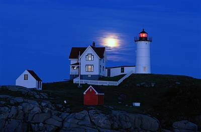 Moonrise Over The Nubble Lighthouse Art Print by Darlyne A. Murawski