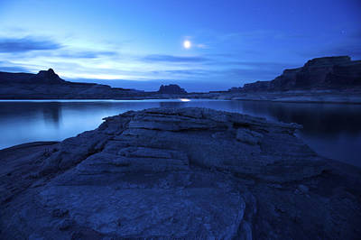 Moonrise Over West Canyon And Lake Print by Michael Melford