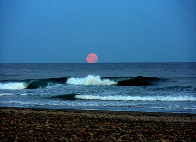 Moonrise Rexham Beach Original by Malcolm Lorente