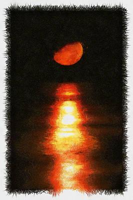 Photograph - Moonset Bradenton - Sketch by Nicholas Evans